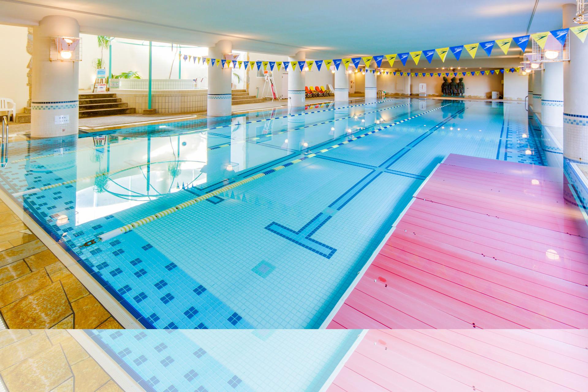 いつでも楽しめる本格25m温水プール